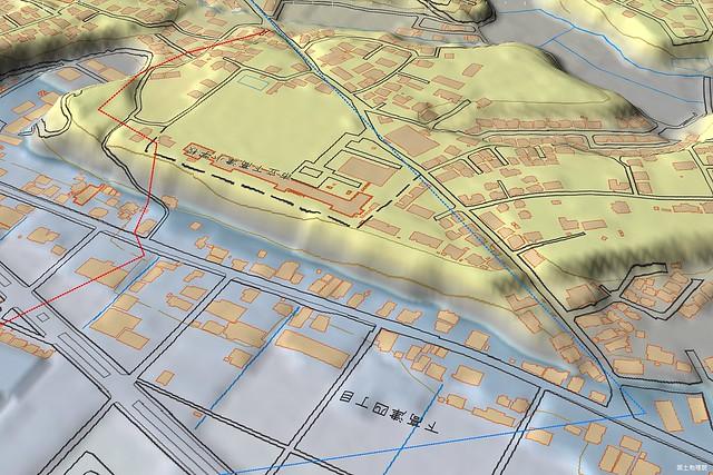 土浦市南部の東海道推定ルート 3Dアップ