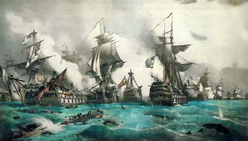 The Battle of Trafalgar by Juan Vallejo