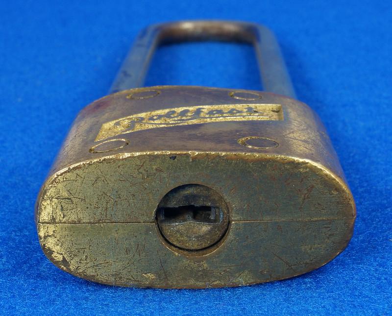RD14743 Vintage Rollfast Bicycle Bike Lock Brass Body Long Hasp with Key Padlock DSC06262