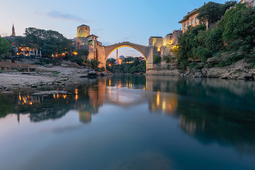 city bridge sunset summer reflection architecture landscape europe sarajevo mostar bosnia chinese medieval most chengdu easteurope starimost balkan bosniaherzegovina archbridge theworldisee projectweather