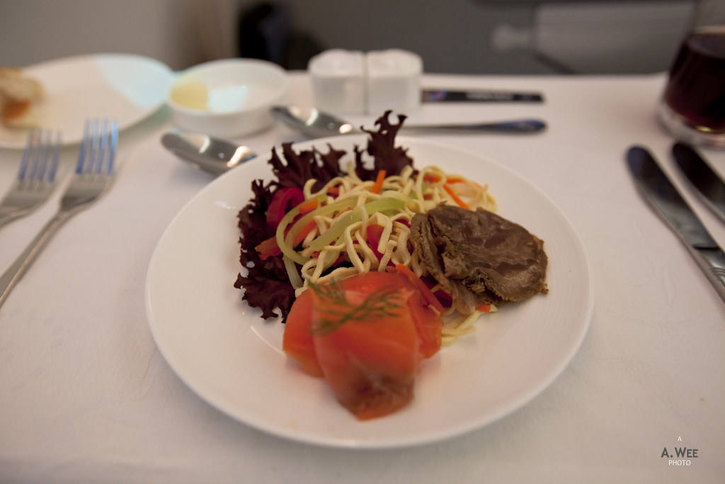 Beef shank, smoked salmon and beancurd noodle