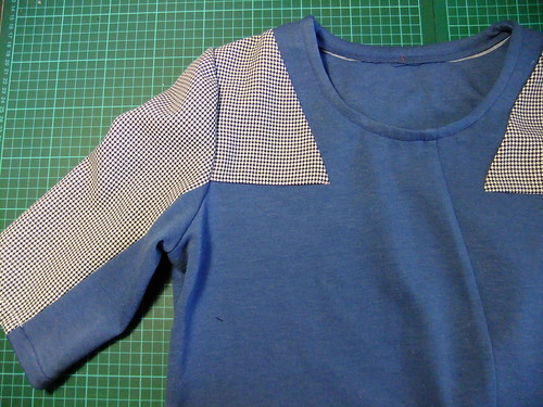 Version 1 - blue double jersey & recycled tweed skirt