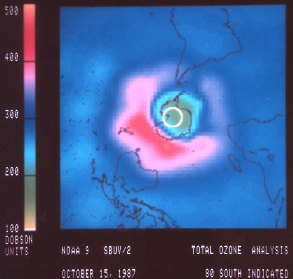 Satellite Image of Ozone Hole in 1987