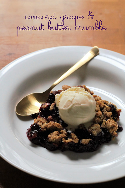 concord grape and peanut butter crumble
