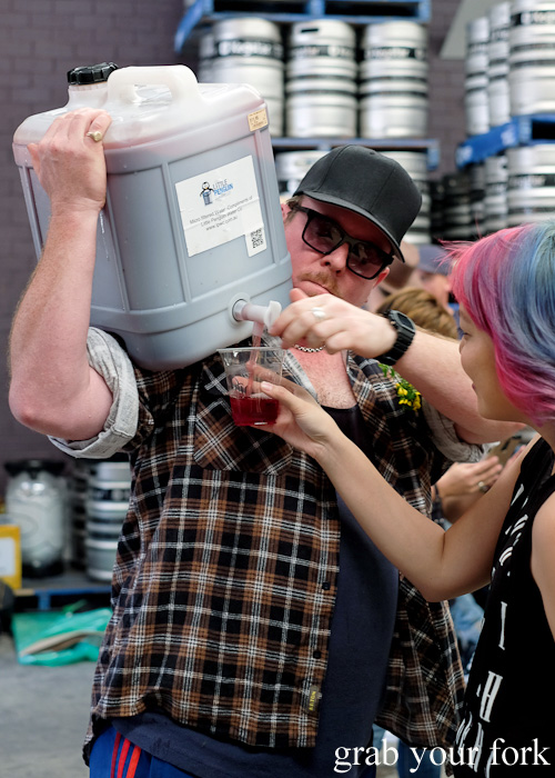 Mike Bennie dispensing feral wine at the Feral Party by Pinbone at Young Henrys for Good Food Month 2015