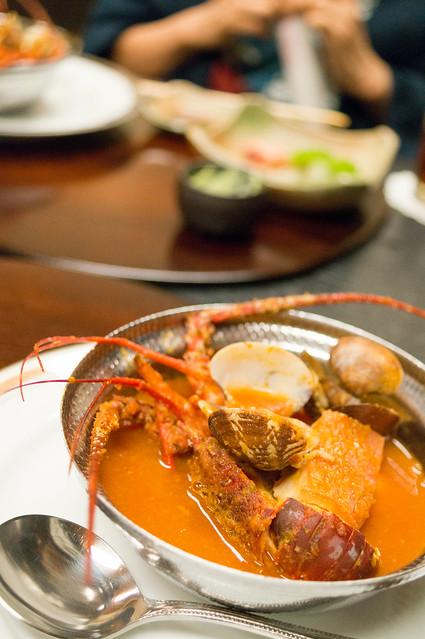 南山荘 紫乃、夕食、伊勢エビのブイヤベース