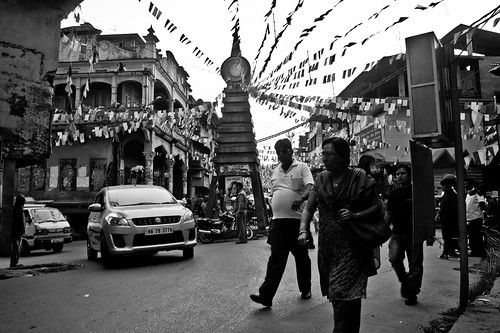 Banners, flags, logo hangings in the bazaar area, Kalimpong