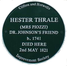 Photo of Hester Lynch Thrale green plaque