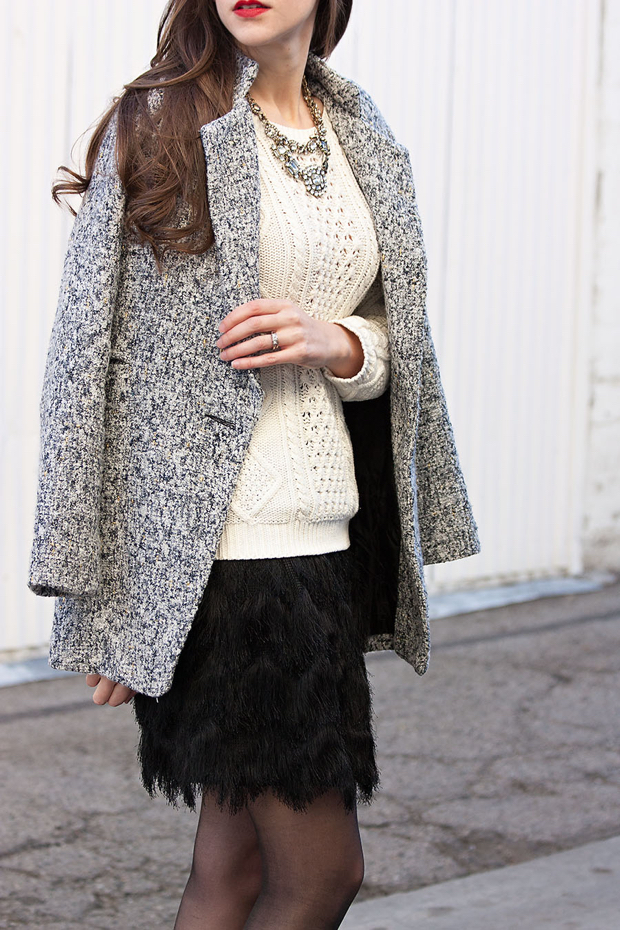 Banana Republic Fringe Skirt, Metallic Tweed Coat, Holiday Outfit