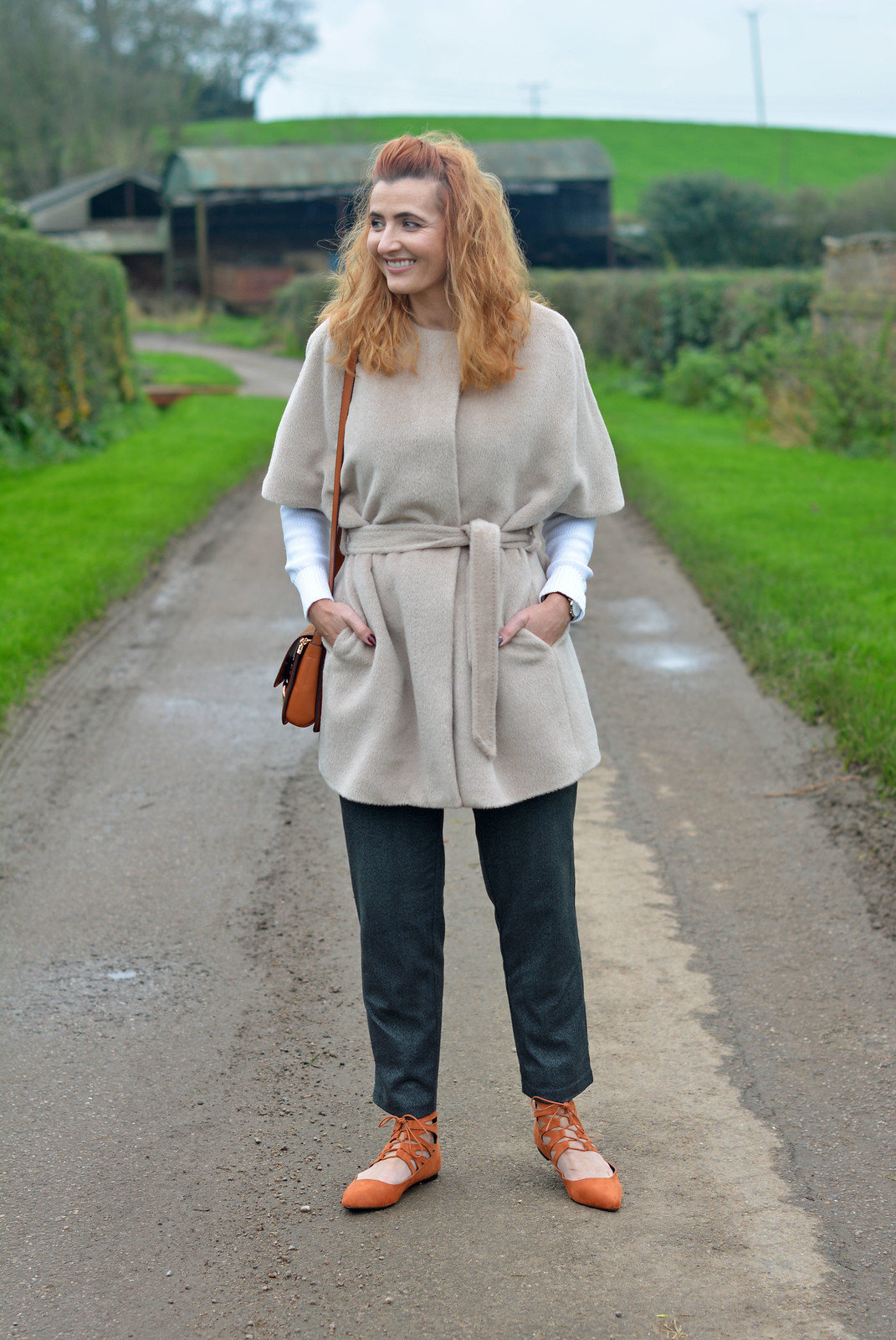 Jaeger alpaca coat | Winter neutrals with orange lace ups