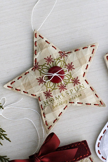 Puffy  Star Ornament Using Beaded Holiday Stitch Kit, Super Gingham, Chicken Scratch, and Love Lives Here Holiday