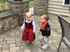 The twins explore the barbecue pit at Amber's house