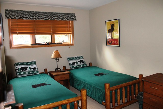Guest bedroom with twin beds and full closet;
