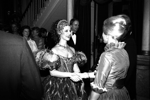 Agnes Baltsa and the Duchess of Kent at the post-performance party after the premiere of Les Contes d'Hoffmann (1980) in the Crush Room, Royal Opera House. Photograph from the Donald Southern Photographic Collection © 1980 ROH