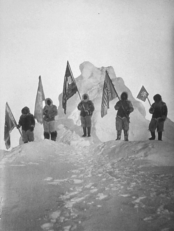 Peary Sledge Party and Flags at the Pole