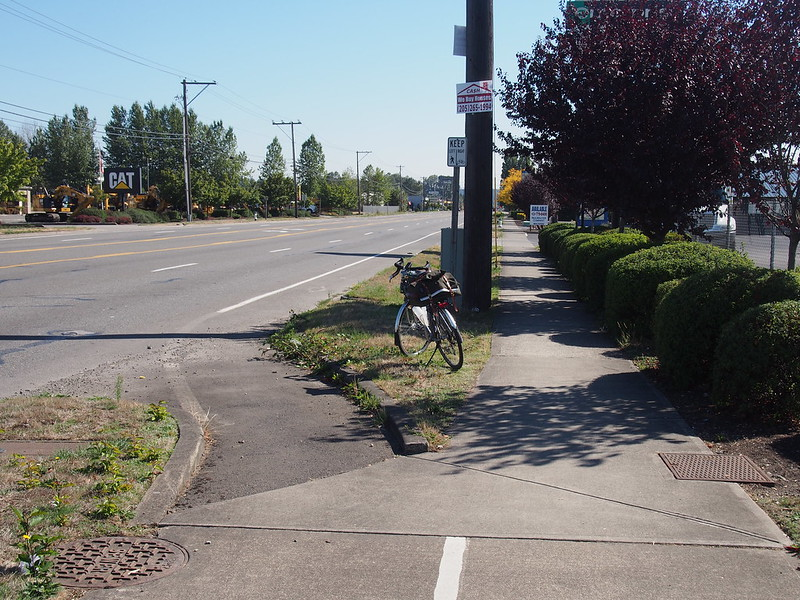 Pacific Highway Bike Lane: For some reason, it combines with the sidewalk for a few blocks, only to be turned into a 'normal' bike lane later.