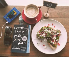 Feta, avocado, and pomegranate on sourdough with a chai latte and my current book. It was supposed to be my marking reward but I got hungry. #marshmallowtestfail #Saturday #singapore #food Will mark after this. I promise.