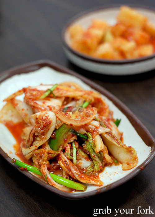 Kimchi cabbage and radish at O Se Yo, Lidcombe
