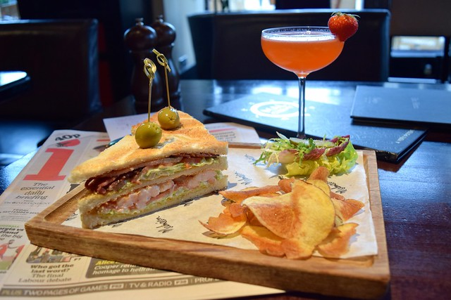 Shrimp Club Sandwich with Cocktails at the Malmaison, Edinburgh | www.rachelphipps.com @rachelphipps