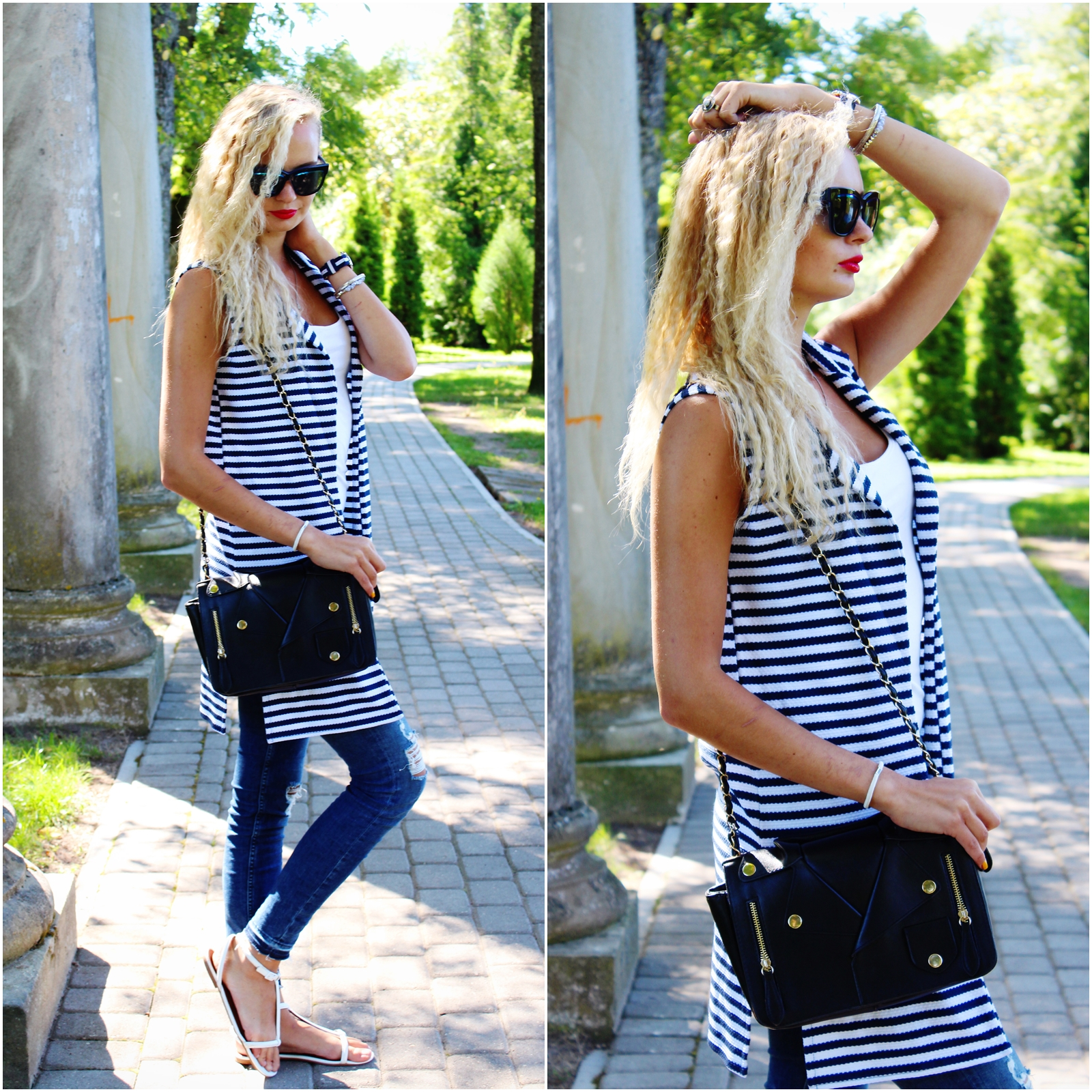 striped-vest-ripped-jeans-outfit