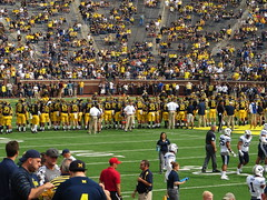 Michigan Warming Up, Michigan Stadium, University of Michigan, Ann Arbor, Michigan