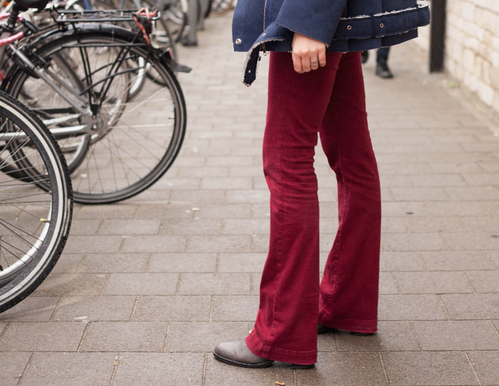 flared burgundy trousers