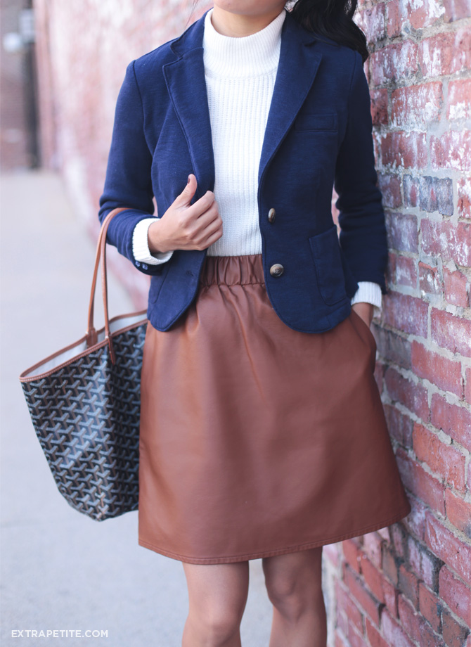 navy blazer brown leather skirt outfit
