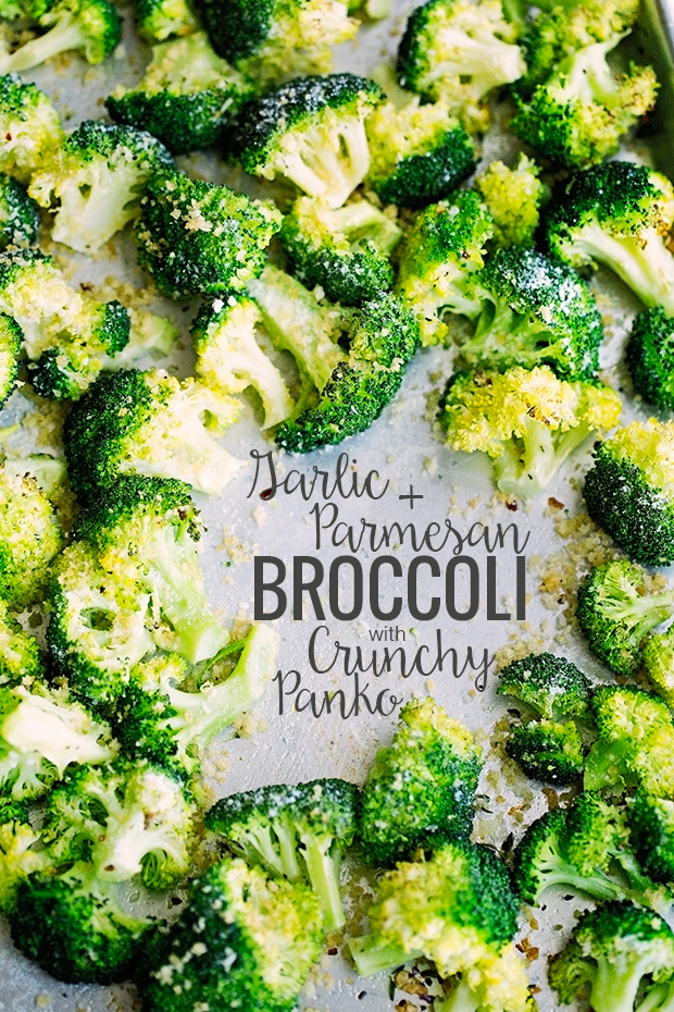 Garlic Parmesan Roasted Broccoli with Crunchy Panko - A garlic infused olive oil is drizzled on the broccoli and roasted! Such and easy side dish and so delicious! #roastedbroccoli #broccoli #garlicparmesanbroccoli | Littlespicejar.com @littlespicejar