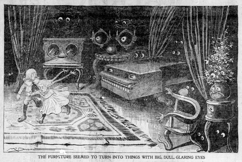 Walt McDougall - The Salt Lake herald., February 09, 1902, The Furniture Seemed To Turn Into Things With Big, Dull, Glaring Eyes