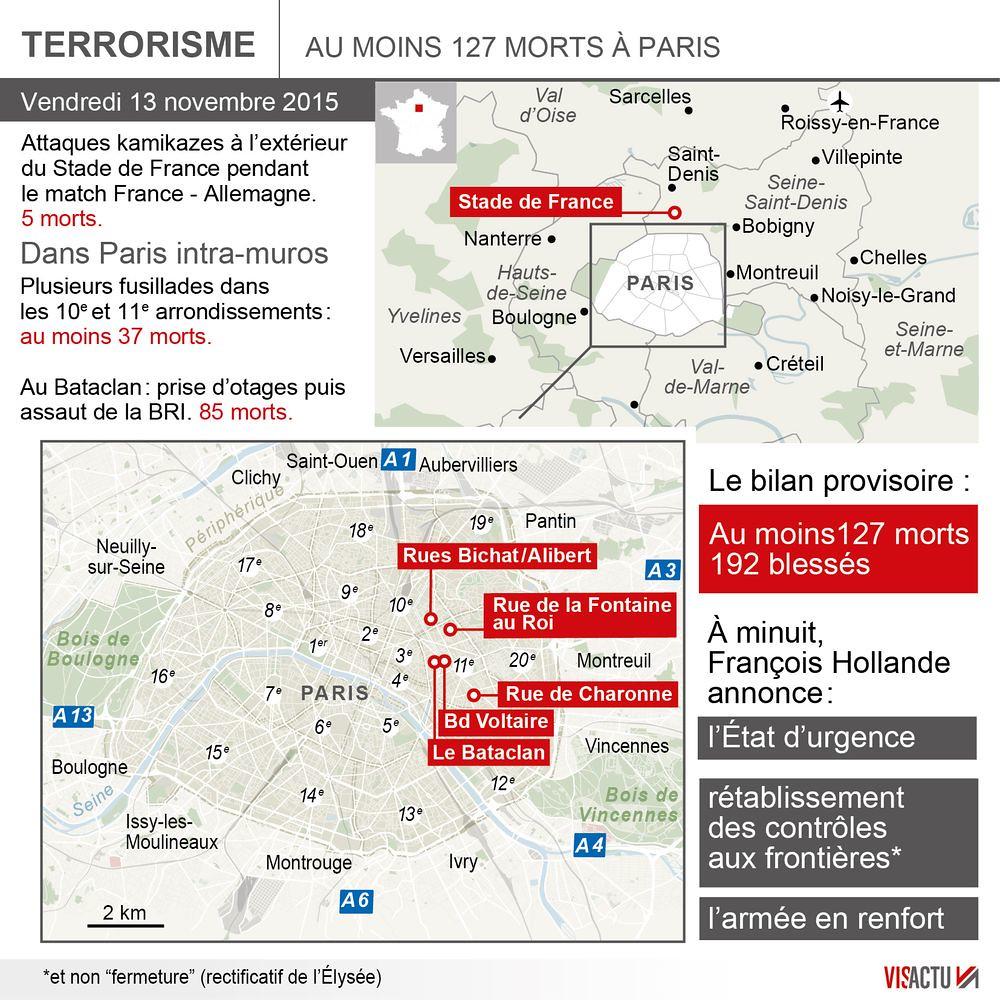 La carte des attentats