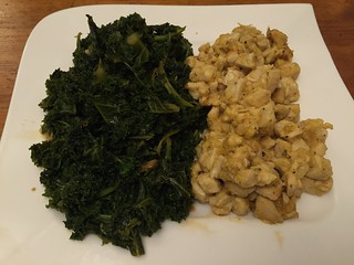 Citrus chicken with kale.