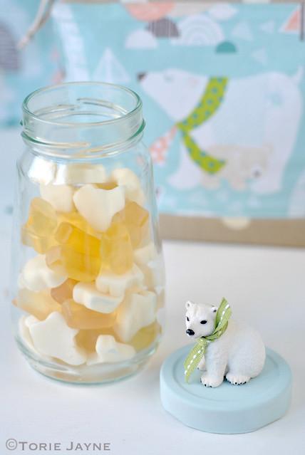 Handmade Polar bear jar full of polar bear candy