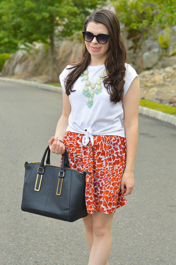 giraffe printed skirt