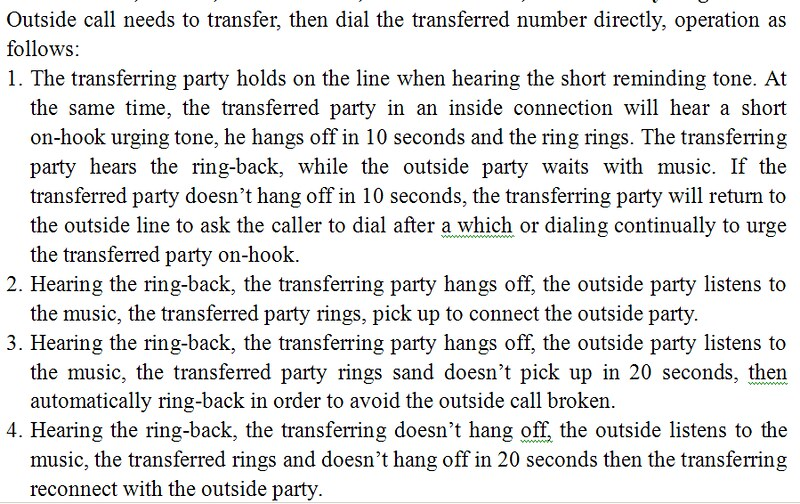 Chinese PABX manual - transferring calls