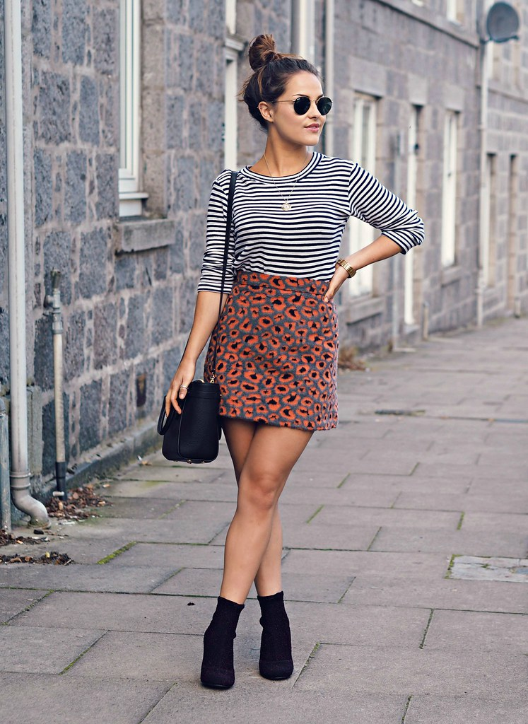 Topshop leopard furry skirt