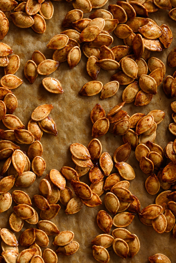 Sweet And Salty Roasted Brown Sugar Pumpkin Seeds Fork