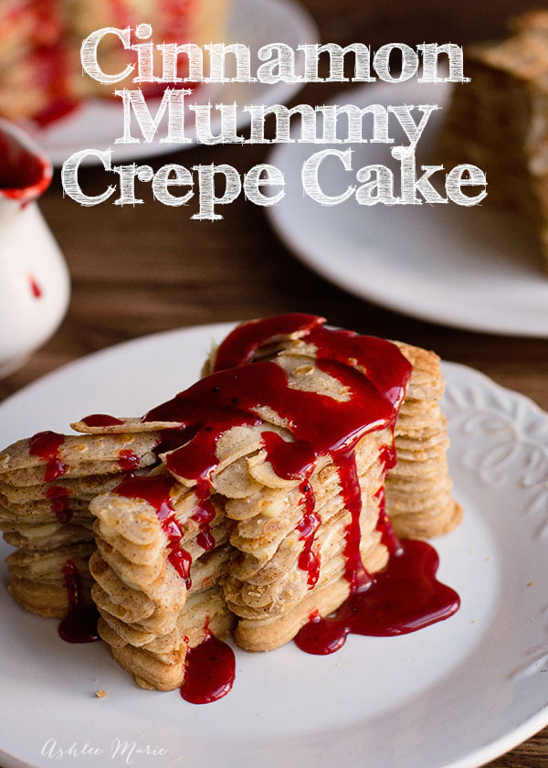buttermilk blood, cinnamon crepe mummy layers with a vanilla pastry cream and short bread crumble filling, a spooky and delicious Halloween treat, full video tutorial