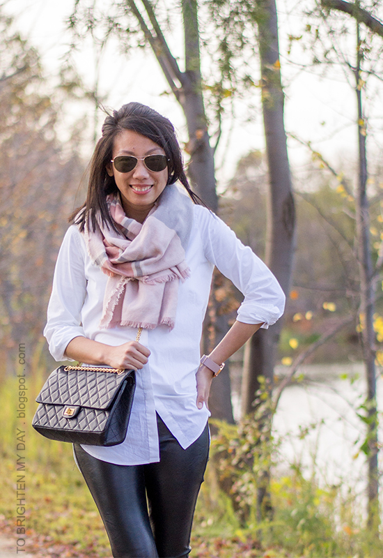 pink and gray blanket scarf, white button up shirt, faux leather pants, oversized watch