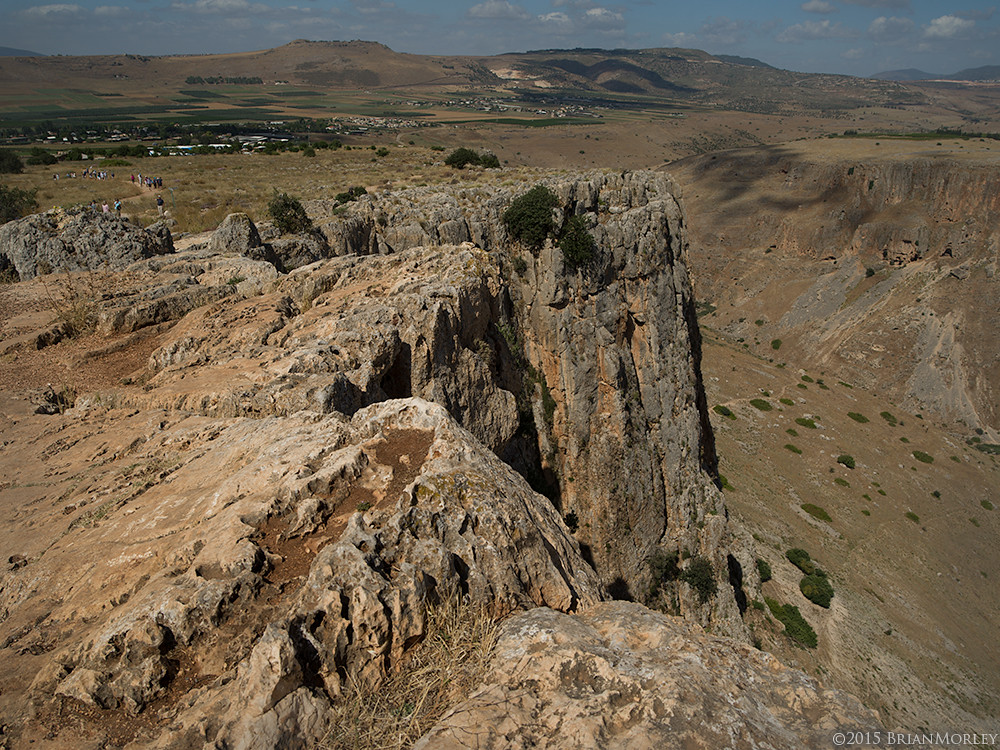Arbel Cliffs, View of Horns of Hattin