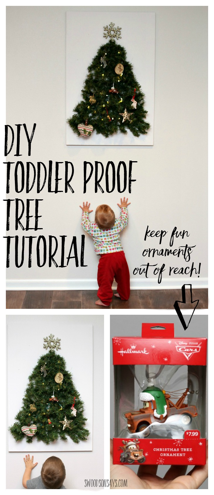 DIY Toddler Proof Tutorial - keep your fun ornaments as decoration instead of toys with this easy tutorial for a wall tree that is baby proofed! Swoodsonsays.com