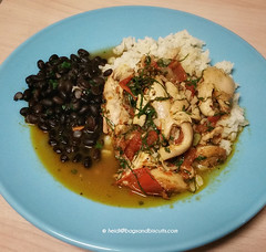 Stewed Chicken with Saffron over Rice and Black Be…