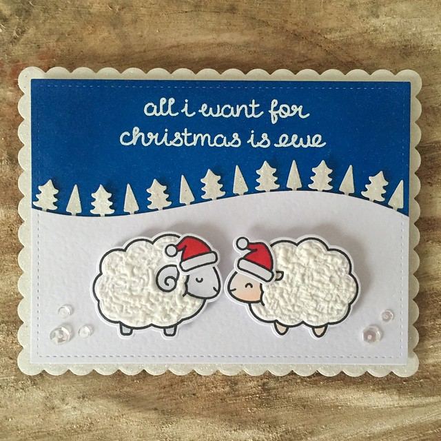Lawn fawn 'all I want for Christmas is ewe' card
