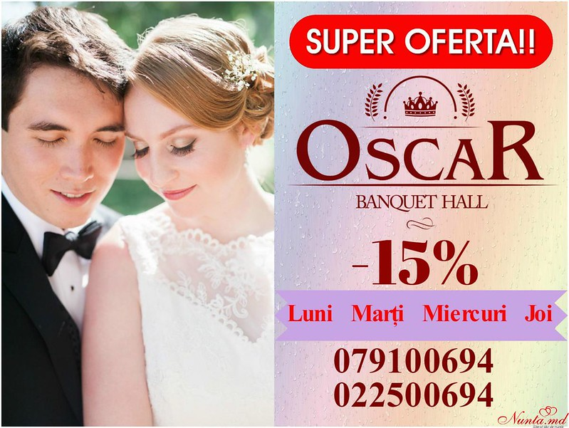 """Ресторан Oscar > """"Oscar Banquet Hall"""" предлагает воспользоваться специальным предложением: при проведении банкета в будние дни вы получаете скидку 15%!"""
