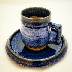 Another of my favorite little espresso cup and saucer.  My Lapis Lazuli glaze on Marilyn's stoneware body. Cone 6 oxidation slow cooled.  #mugshotmonday #handmade #ceramics #pottery