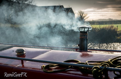 RamiGraFX posted a photo:Smoking chimney on a house barge at Glasson Dock