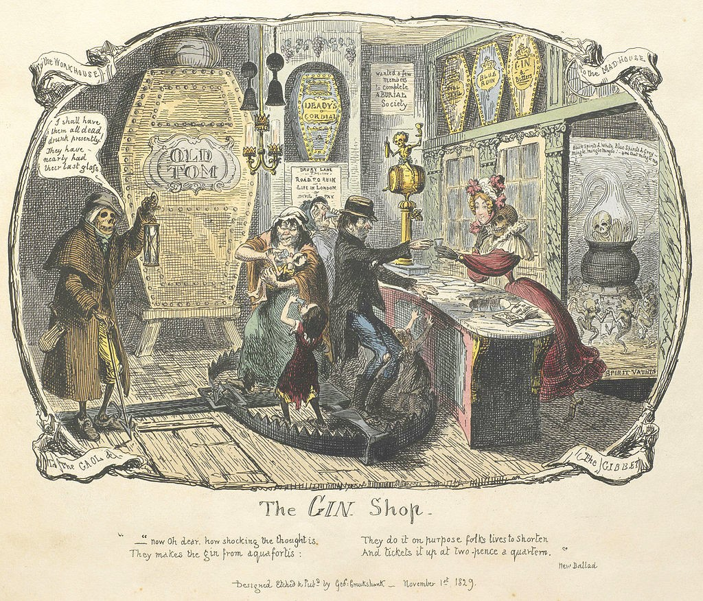 Cruikshank's engraving of The Gin Shop (1829)