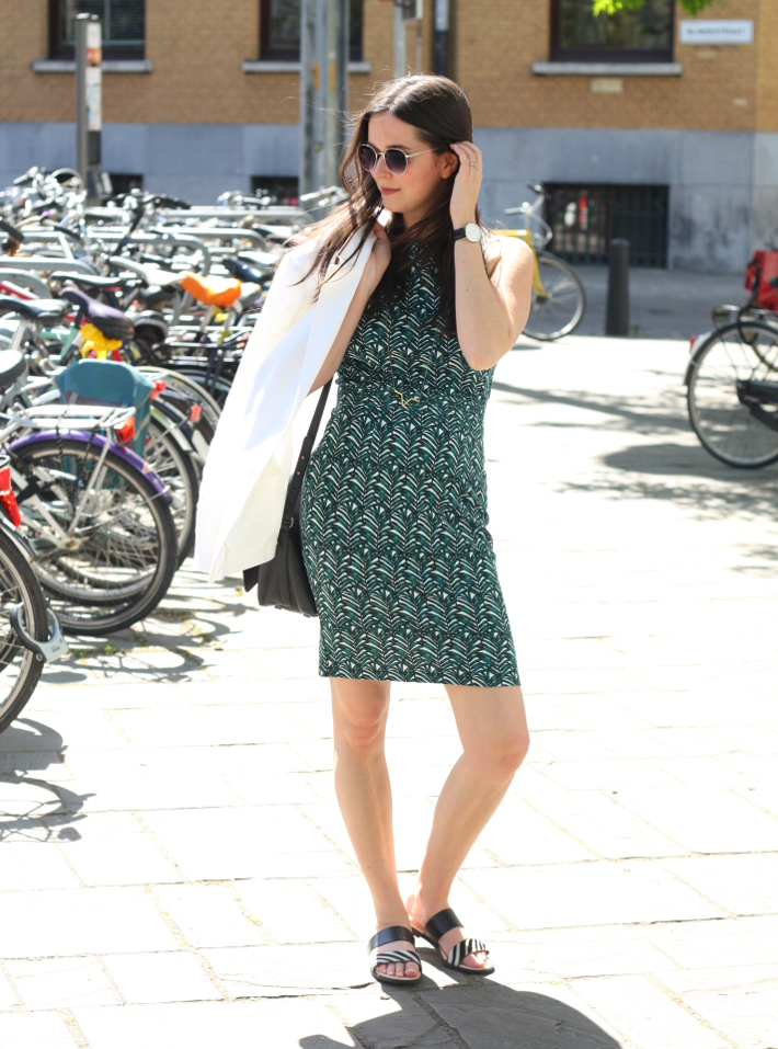 professional outfit: palm leaf print dress, white blazer