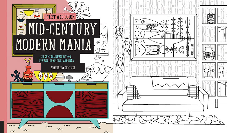 Mid-Century Modern Mania + 11 Beautiful Adult Coloring Books for Alphabet Dating.