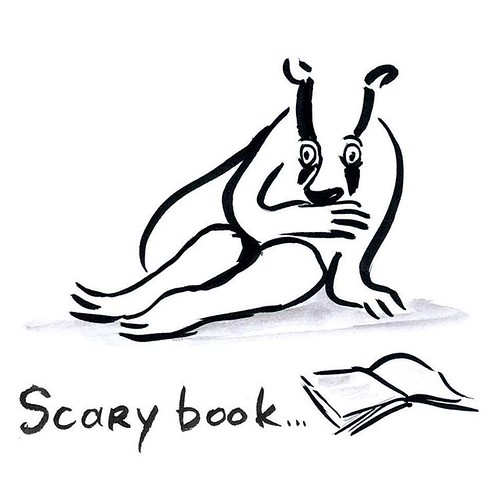 Badger is reading through a scary place in his book #inktober number six #inktober2015 #badgerlog #badger