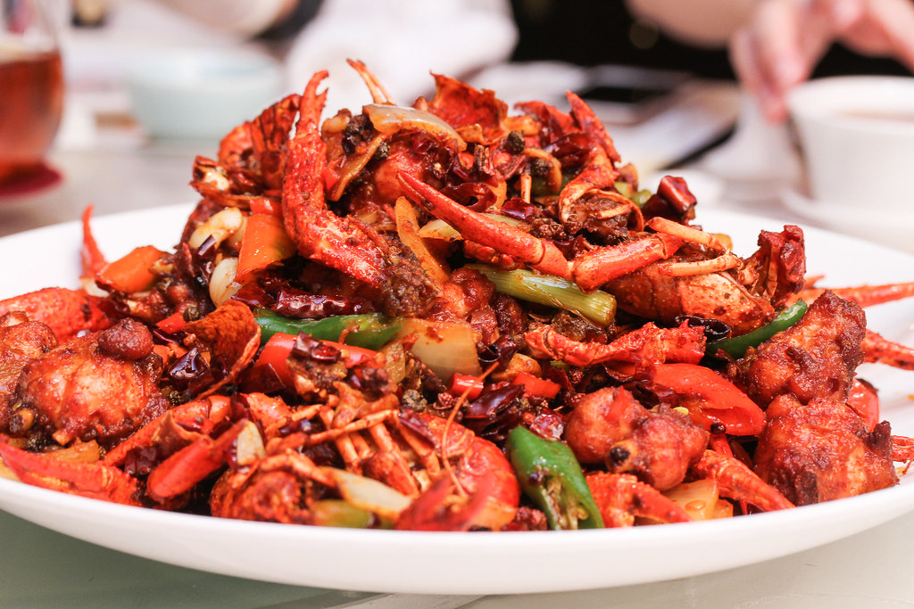 Si Chuan Dou Hua Restaurant's Stir-Fried Fresh Baby Lobster and Diced Chicken Thigh with Chilli and Pepper Sauce (香辣鸡丁小龙虾)